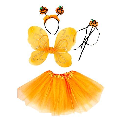 Tante Tina Costume da Farfalla per Bambina - Vestito Farfalla da Bimba in 4 Pezzi: Gonna in Tulle, Ali, Bacchetta e Cerchietto - Zucca di Halloween - Indicato per i Bambini da 2 a 8 Anni