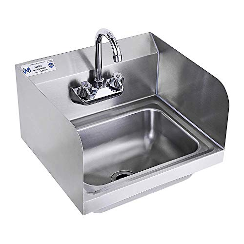 Stainless Steel Sink for Washing with Faucet and Side Splash NSF, Commercial Wall Mount Hand Basin for Restaurant, Kitchen and Home, 17 x 15 Inches