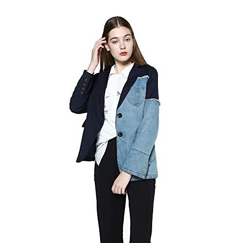 NZJK Dames blazer jas jeansjas voor vrouwen blazer jeans pak denim blazer lange mouwen asymmetrische gestreepte vrouwen top