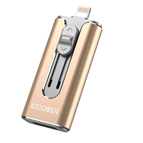 GUORUI Memoria USB 128 GB Pendrive Para iPhone OTG Android iPad iPod Computadoras Laptops Flash Drive USB 3.0 para iPhone X/8/8Plus 7/7Plus/5/5s/5c/6/6s Plus/ipad -  Dorado