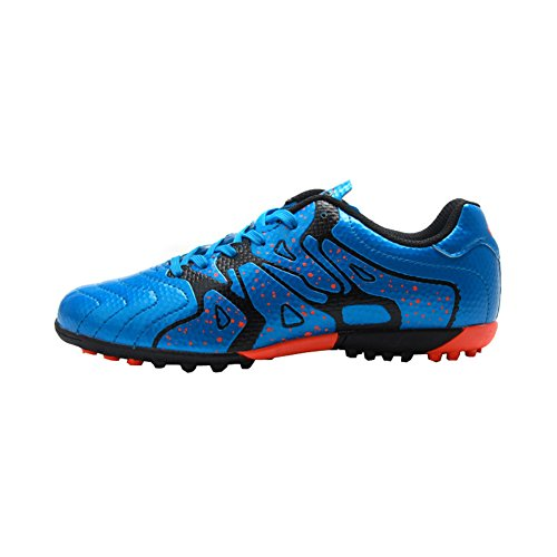 Tiebao Kids' Indoor Soccer Football Shoes - Patent Synthetic Leather - Turf, Indoor (12.5 M US Little Kid, Star Blue)