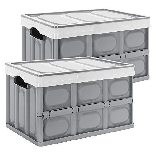 Yorbay 2er-Set Profi klappbox Transportbox Mit Deckel, Faltbarer Aufbewahrungsbox mit Handgriff, Stapelbare Kisten Storage Box Faltboxen Stapelboxen Für Aufbewahrung Und Transport, PP, Grau (55L)