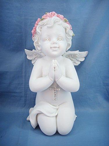 FIGURINE ANGE - EN PRIERE PENDENTIF CROIX - ANGELOT (HT 17 cm) - STATUETTE ANGE