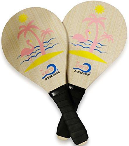 Frescobol Florida Set, 2 Original Vero Beach Paddles, 2 Balls, 2 Darts and Beach Tote-Bag (Pink Flamingo Set)