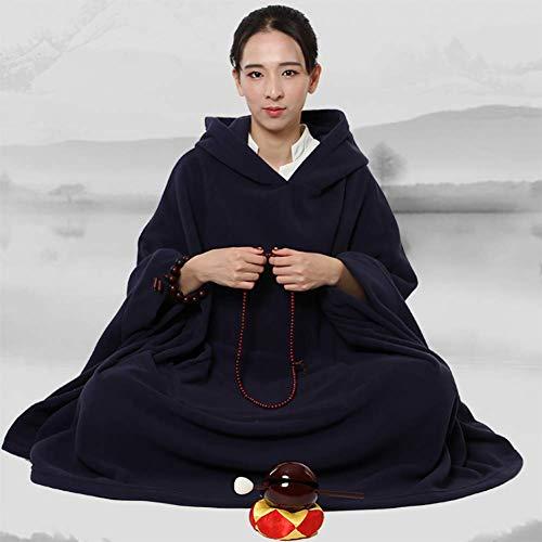 Moter De los Hombres y la Ropa de Lana meditación Manto de la meditación la meditación Guanyin Capa de Legos de Las Mujeres,Azul,XL