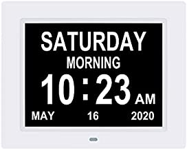 8.7 Inch Digital Calendar Day Alarm Clock -8 Alarm Reminders,AM/PM Function,Day Clock with Extra Large Display Helps with Memory Loss, Alzheimer's ,Dementia( White)