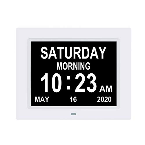 LaMi Products Digital Calendar Day Alarm Clock -8 Alarm Reminders,AM/PM Function,Day Clock with Extra Large Display Helps with Memory Loss, Alzheimer's,Dementia(8.7 Inch, White)