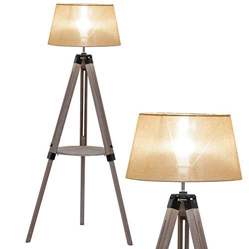 HOMCOM Lámpara de Pie con Trípode Regulable en Altura para Oficina y Hogar Estante Pequeño para Almacenaje Base Estable 63x63x110-150 cm Beige