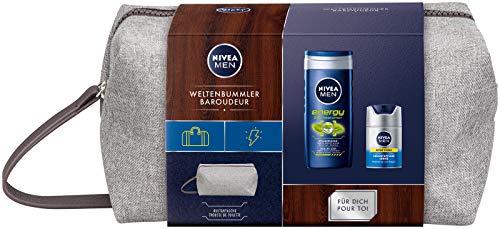 NIVEA MEN Weltenbummler Geschenkset, Kulturtasche für Männer mit Pflegedusche und Gesichtspflege Creme, Reiseset für den gepflegten Mann