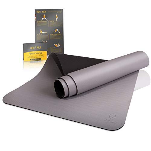 High Pulse Esterilla de yoga Super Grip - Extra antideslizante con agarre: estera resistente al sudor + correa para yoga, pilates, fitness – para principiantes y yoguis experimentados (gris)