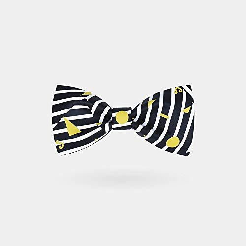 CEKINF Herren Gestreifte Fliege,Handgemachte Krawatte,Schwarz Weiß Gelb Geometrisch Für Bräutigam Trauzeuge Hochzeit Party Business Kleid