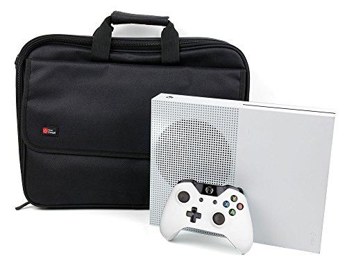 DURAGADGET Maletín Negro para Videoconsola Xbox One S - Múltiples Compartimentos