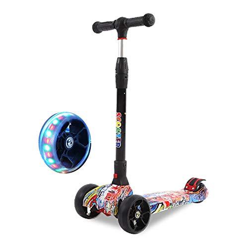 LABYSJ Patinete para Niños De 4 Ruedas, Scooter Brillantes LED Plegables, Bicicleta De Equilibrio, Patineta Ajustable En Altura, Juguetes, Regalos para Niños, Carga 50 kg,C