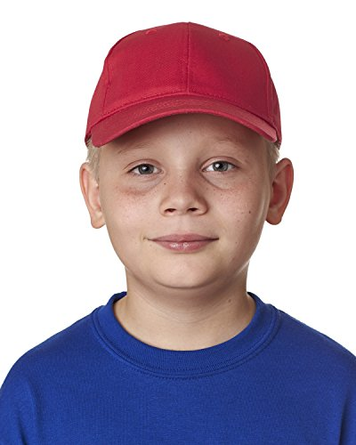 8122 UC YOUTH COTTN TWL 6 PANEL CAP RED OS