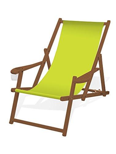 Holz-Liegestuhl mit Armlehne und Getränkehalter, Klappbar, mit dunkelbrauner Lasur, Wechselbezug (Lemon)