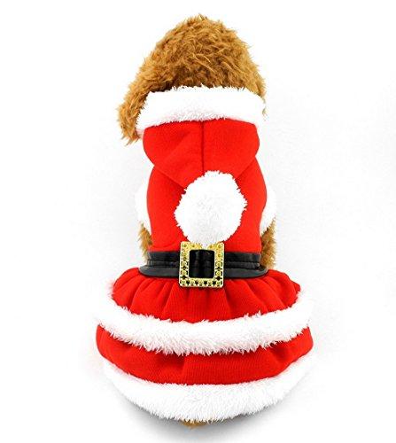 Pegasus Navidad Ropa plisado vestido de gato disfraz de sudadera con capucha rojo, frontal de botones para pequeño de perro perro cachorro