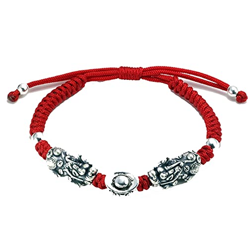 Plata De Ley 925 Doble Pixiu Con Lingote Tibetano Nudos Hechos A Mano Pulsera De Cuerda Roja De La Suerte Para Hombres Y Mujeres Joyería De Amuleto