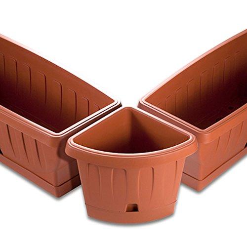 Bama Vaso angolare Victoria con Self Waterer piattino, Terracotta, 40x 54x 45cm