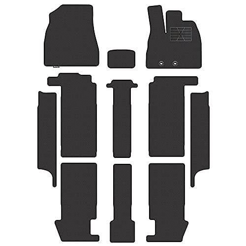 Hotfield トヨタ 新型 ノア ヴォクシー 80系 フロアマット+ステップマット カーボンファイバー調 防水 NOAH VOXY / 7人乗 ハイブリッド車/後期モデル(2017.7~)/センターコンソール有/独立型(標準) フットレストカバー有 ステップ形状:ワイドサイズ