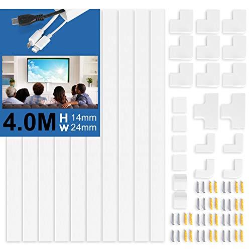 10 Stück Kabelkanal Selbstklebend Weiss | 400cm PVC Kabelabdeckung, Kabelschacht zum Kabel verstecken bei Kabelsalat | TV Kabelkanal für alle Netzkabel (40cm*2,4cm*1,4cm)