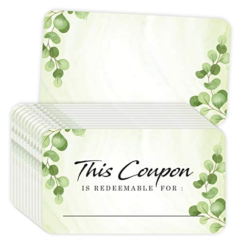 """Coupon Cards - (Pack of 100) 3.5""""x2"""" Blank Gift Certificates Redeem Vouchers for Small Business Package Insert"""