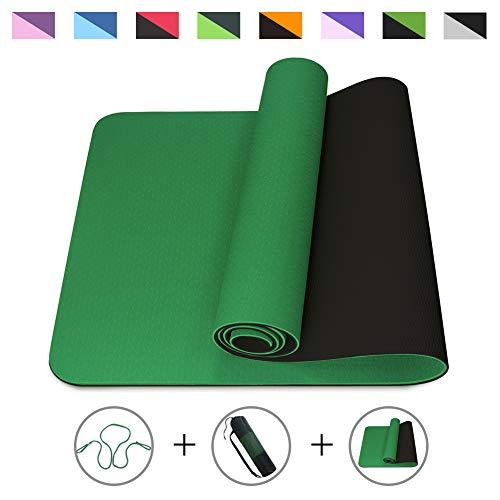 ROMIX Esterilla Yoga, Exercise Mat Eco-Friendly 6MM de Gruesor TPE con Bolsa de Transporte, Colchoneta de Yoga Antideslizante para Hombres, Mujeres, Hogar, Gimnasio, de Meditación Pilates (Verde)