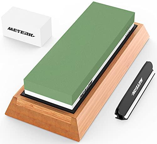 Meterk Knife Sharpening Stone Set 1000/6000 2 Side Whetstone Knife Sharpener Wet Stone Sharpening Kit with Non Slip Bamboo Base & Angle Guide & Flattening Stone Kitchen Waterstone