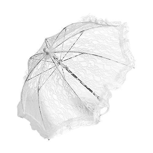 Freedomanoth Spitze Regenschirme Handgefertigt Braut Sonnenschirm Blumenmädchen Edelstahl Lang Griff Regenschirm Für Hochzeit Dekoration Fotografie Prop