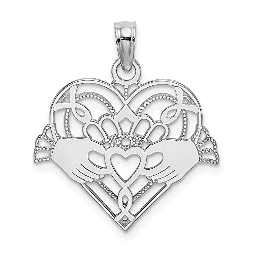 14k White Gold Beaded Irish Claddagh Celtic Knot In Heart Pendant Charm Necklace Love Fine Jewelry For Women Gifts For Her