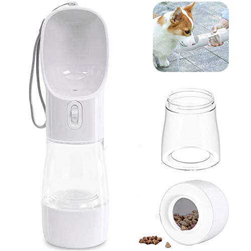 Yiflin 3 in 1 Portable Dog Water Bottle with Dog Bowl and Food Container, Dog Travel Water Bottle Dispenser for Walking Hiking Drinking