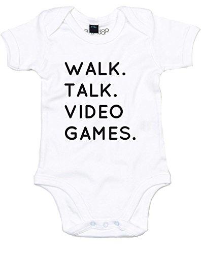 Walk. Talk. Video Games., Impreso Bebé Crecer - Blanco/Negro 6-12 Meses