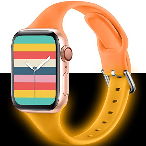 ZAROTOCompatible with Apple Watch Bands 44mm 42mm 40mm 38mm, Soft Silicone Sport Replacement Strap Compatible for iwatch SE Series 6/5/4/3/2/1 Women Kids. 42mm/44mm Luminous Orange