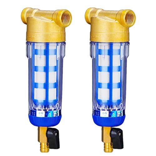 Amuzocity 2pcs Stainess Steel Brass Pott Sistema de Filtración de Agua para Toda La Casa 3/4'1/2'