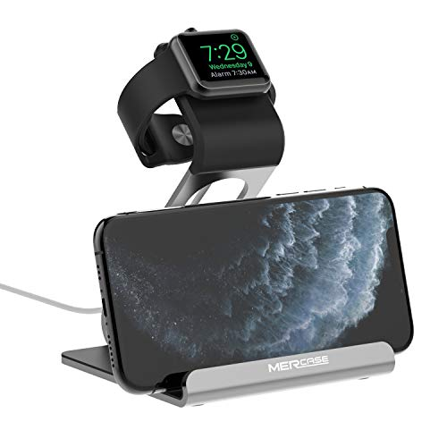 Apple Watch Stand, Mercase Aluminum NightStand iWatch &iPhone Universal Desktop Stand Holder Charging Station for iWatch Series SE/6/5/4/3/2/1,iPhone 11/11Pro/11Max/Xs/X Max/XR/X/8/8Plus-Space Gray