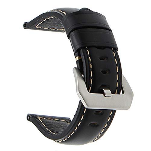 20mm 22mm 24mm 26mm Italien echtes Leder uhrenarmband für panerai luminor radiomir Edelstahl Schnalle Armband Armband schwarz s, 24mm