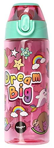 Fringoo - Borraccia per bambini con cannuccia, 100% senza BPA, 600 ml, per scuola materna, bottiglia da viaggio per bambini, Bambino, Dream Big, 600 ml
