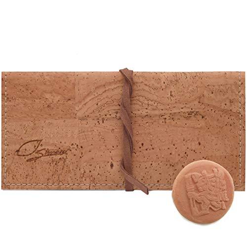 SIMARU Tabaktasche/Drehtabak Tasche 35g aus wasserabweisendem Korkleder – Drehertasche für Tabakbeutel – Fach mit Reißverschluss für Filter und Zubehör – Doppeltes Paper Fach (beige)