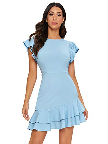 Floerns Women's V Back Inslace Layered Ruffle Hem Flutter Sleeve Dress Blue-1 M