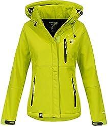 Geographical Norway Damen Outdoor Softshelljacke Touna B Kapuze Lemon Green M