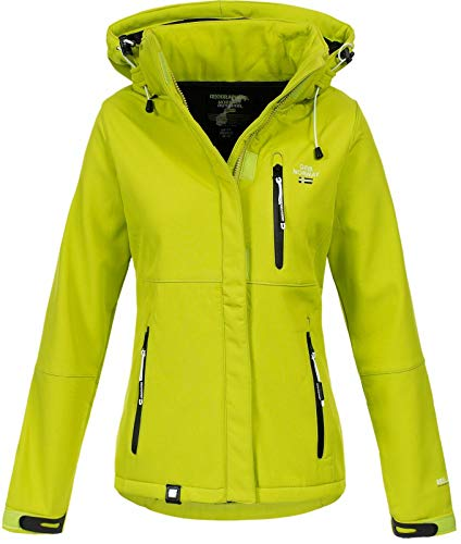 Geographical Norway Damen Outdoor Softshelljacke Touna B Kapuze Lemon Green S