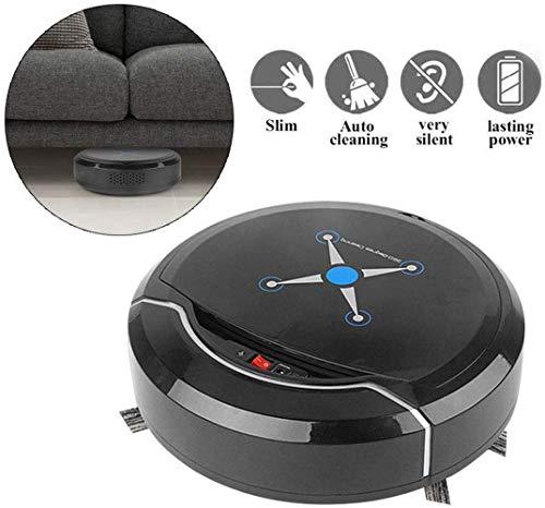XING Robot aspiradora de vacío, fuerte succión Smart Sensores Autocargadección automática Robot inteligente limpiador de suelo de vacío con múltiples escobas para el pelo de la mascota Alfombras-Black