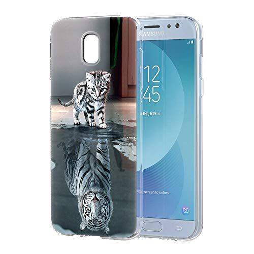 Zhuofan Plus Cover Samsung Galaxy J5 2017, Custodia Clear Silicone Soft Transparent TPU Gel con Design Print Pattern AntiGraffio Antiurto Protactive Cover per Samsung Galaxy J5 2017, Tigre di Gatto