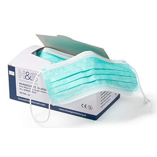 Mundschutz (OP Vlies-Mundschutz) 50 Stück-Packung von ISC H&S mit Elastikband in Komfortlänge, 3-lagig, 100% PP, mit Nasenbügel, glasfaserfrei, latexfrei (3-lagig grün)