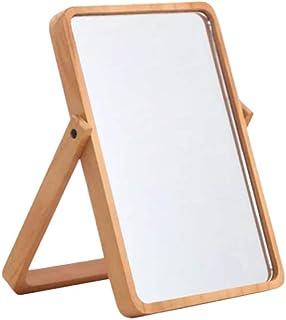 Espelho de maquiagem para mesa Beaupretty com moldura de madeira e suporte para pendurar na parede do quarto da bancada