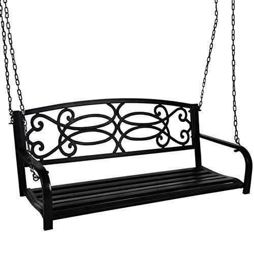 DNNAL Hängebank Schaukel im Freien, 2 Person vordere Hänge Porch Stuhl, Freizeitmöbel aus Metall Schaukel Bank für Patio-Garten Hinterhof Veranda Innen