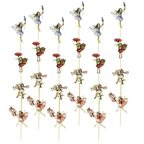 NUOBESTY 48 Unids Hadas Cupcake Toppers Tinkerbell Cumpleaños Pastel Topper Cupcake Topper Pastel Decorativo Selecciones de Comida Decoración de Vacaciones