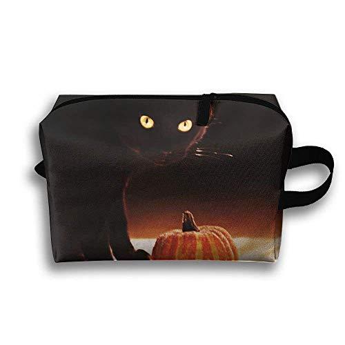 Tragbare Reise-Make-up-Tasche Halloweens schwarze Katzen, Aufbewahrungstasche-tragbare Damen-Reise-Quadrat-Kosmetiktasche