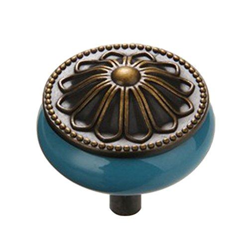 Fenteer Porzellan Möbelknopf Möbelknauf Schubladen aus Keramik - Blau