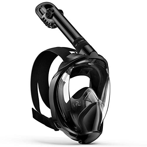 Full Face Snorkel Mask, Zenoplige Diving Mask Premium Innovative Safety Breathing System, 180 Panoramic Foldable Anti Fog Anti Leak Swimming Mask with Detachable Camera Mount for Adults Children