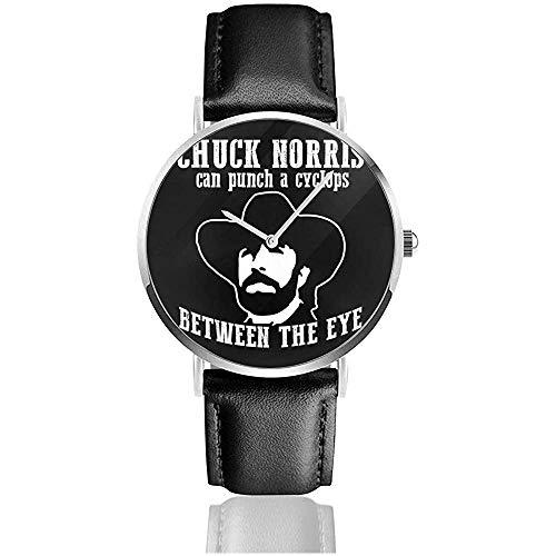 Unisexe Chuck Norris Peut poinçonner Un cyclope Entre Les Yeux Montres Montre en Cuir à Quartz avec Bracelet en Cuir Noir